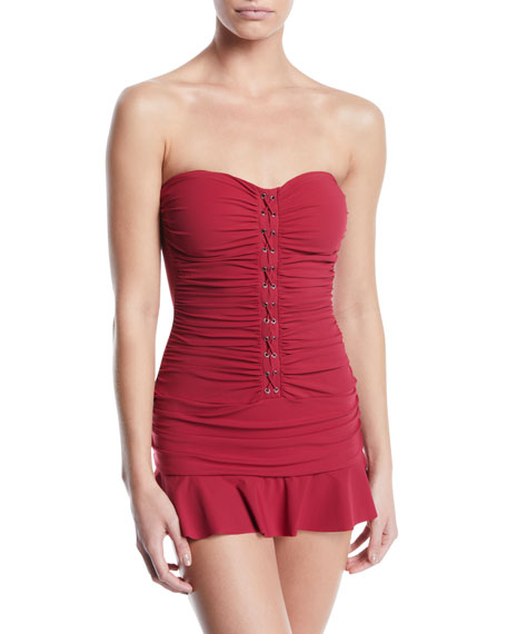Profile By Gottex Moto Ruched Lace-Up Bandeau Swim Dress