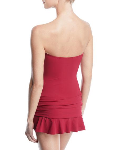 PROFILE BY GOTTEX Dresses Plus Size Moto Ruched Lace-Up Bandeau Swim Dress