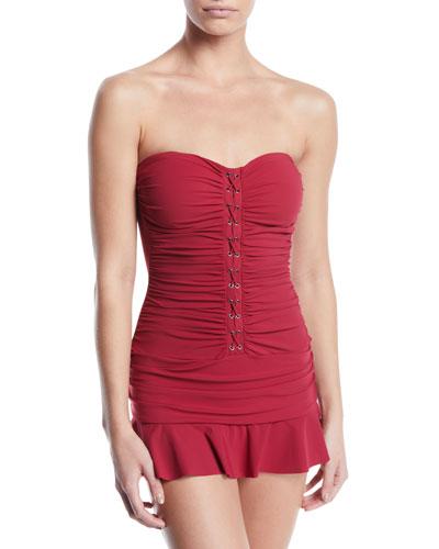 Moto Ruched Lace-Up Bandeau Swim Dress, Plus Size