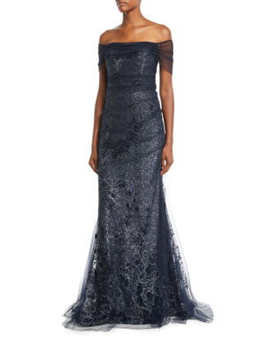 d754d2fa6f Rickie Freeman for Teri Jon Metallic Lace Off-the-Shoulder Mermaid Evening  Gown