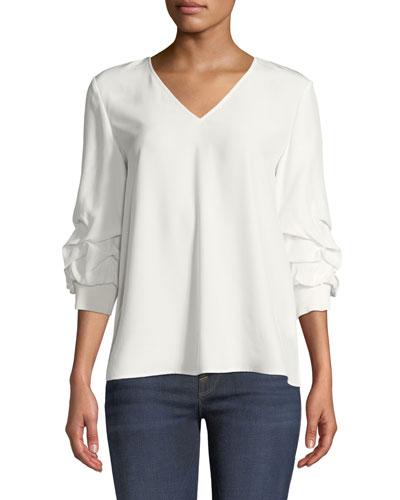 Leland Gathered-Sleeve Silk Blouse, White Cloud