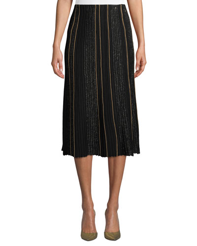 Fluted Ottoman-Pleated Silk Skirt with Sequined Embellishments