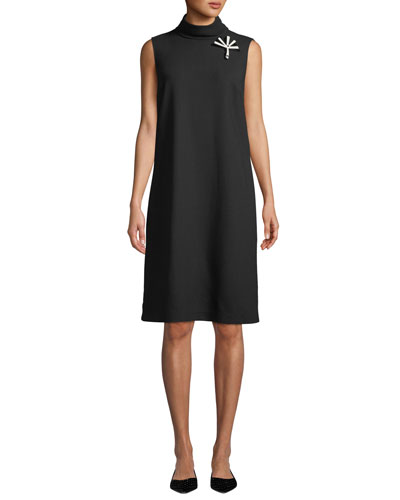 Lovisa Double-Face Knit Dress with Pin Embellishment