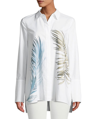Porto Placed Palms Button-Front Cotton Blouse