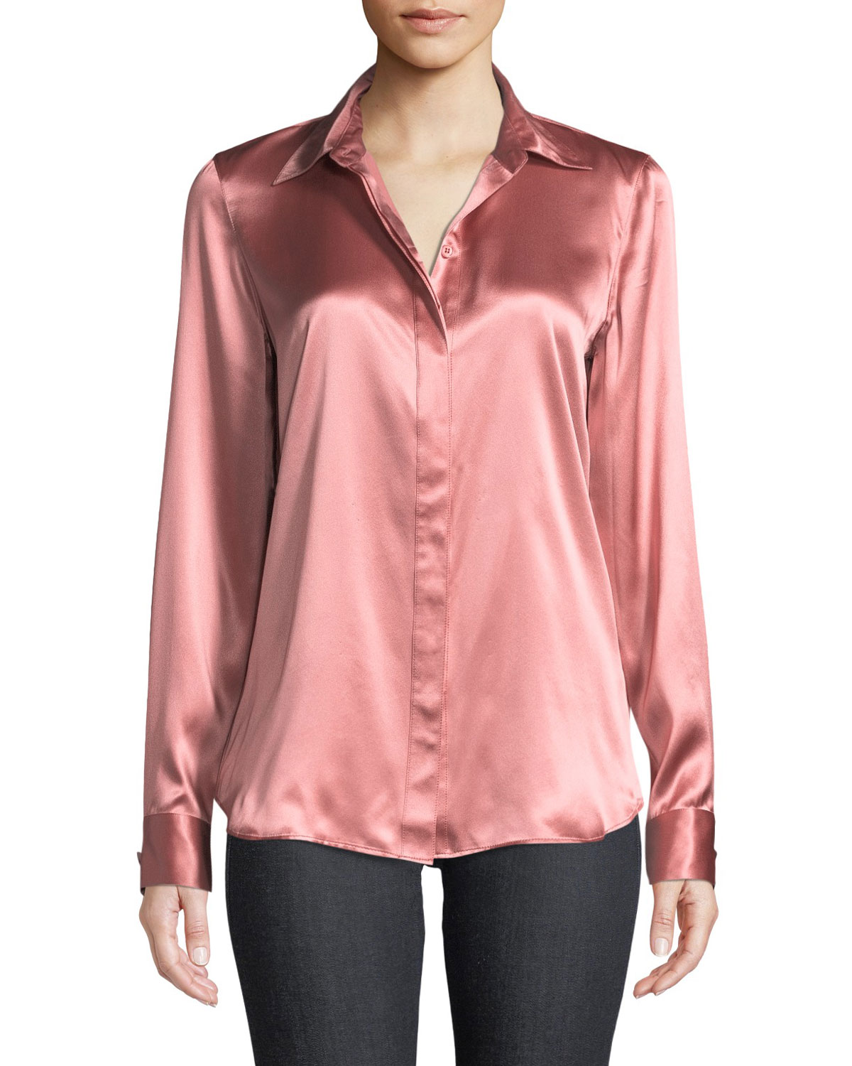 cef0326937bf20 Lafayette 148 New York Olga Luxe Silk Charmeuse Blouse Neiman Marcus