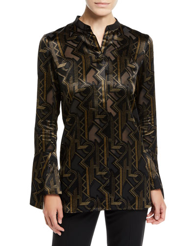 Marybeth Mod Deco Burnout Blouse