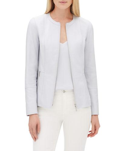 Janella Zip-Front Plonge Leather Jacket