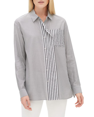 Tommy Long-Sleeve Button-Front Micro Bayside Striped Blouse w/ Cascading Placket