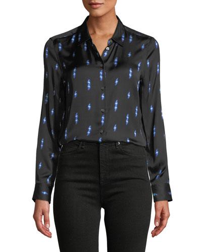 Lighting-Bolt Print Button-Front Essential Shirt