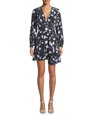 3a29c8a33faa7 Equipment Alexandria V-Neck Long-Sleeve Abstract Floral-Print Short Dress