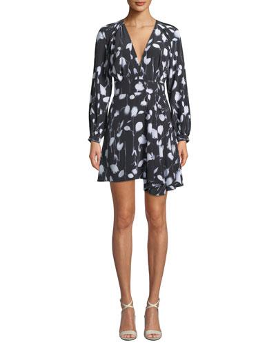 Alexandria V-Neck Long-Sleeve Abstract Floral-Print Short Dress