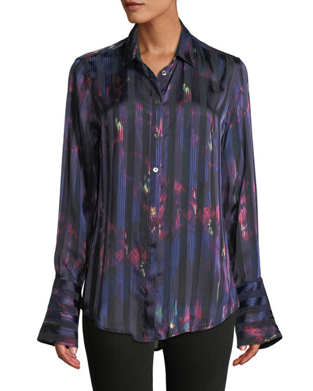 Equipment Eleonore Button-Front Abstract Striped Silk-Viscose Blouse