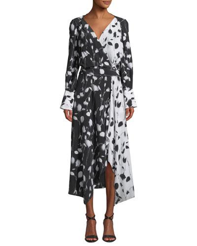 Neema Long-Sleeve Abstract Floral-Print Long Wrap Dress
