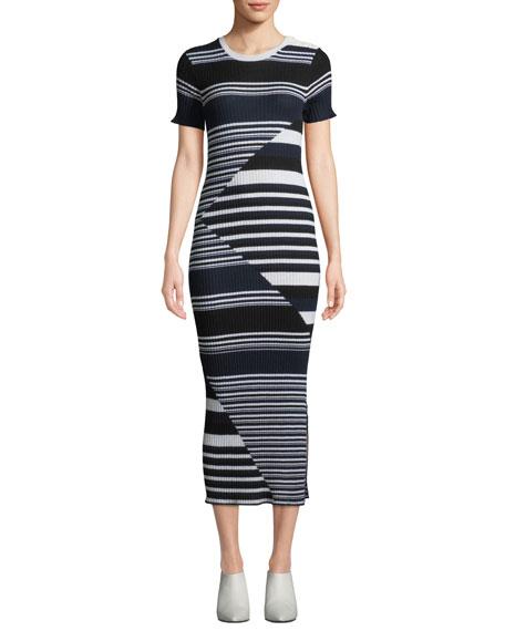 Equipment Dewey Short-Sleeve Multi-Striped Merino Wool Sweaterdress