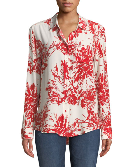 Equipment Brett Button-Front Long-Sleeve Abstract Floral-Print Blouse