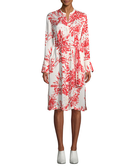 Equipment Roseabelle Button-Front Long-Sleeve Abstract