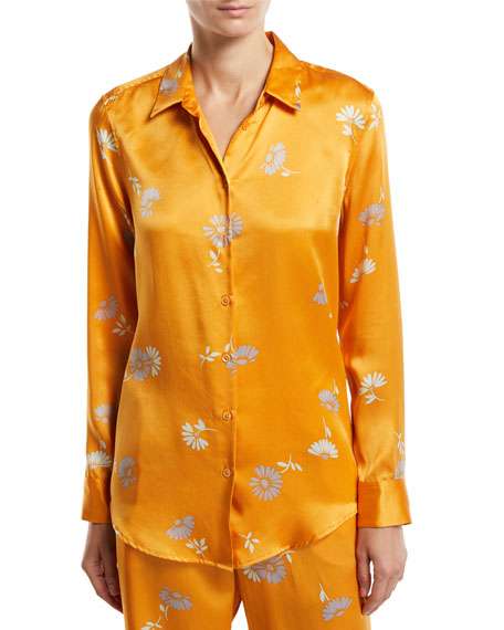 Equipment Essential Floral-Print Button-Front Long-Sleeve Silk Blouse