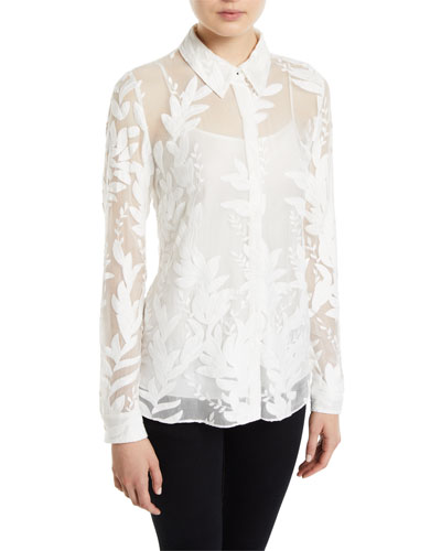 Gwen Button-Front Leaf Embroidered Silk Blouse
