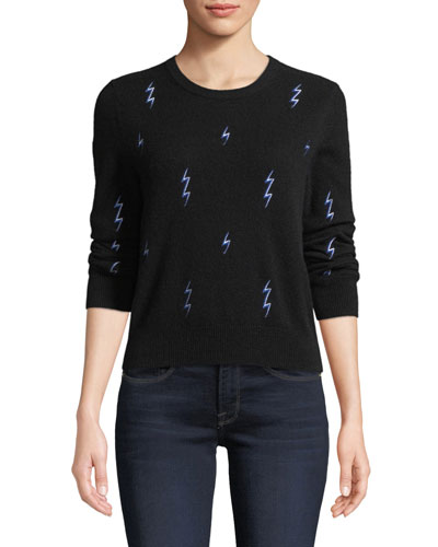 Shirley Lightning-Bolt Cashmere Sweater