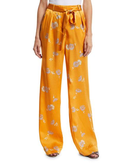 Equipment Evonne Straight-Leg Floral-Print Belted Silk Trousers