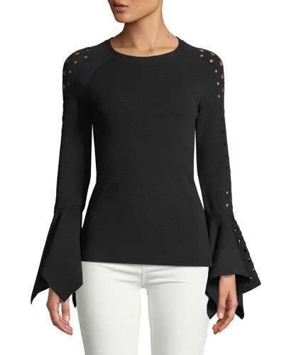 Naaz Perforated-Sleeve Sweater