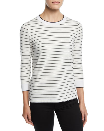 Delma Striped Terry Top
