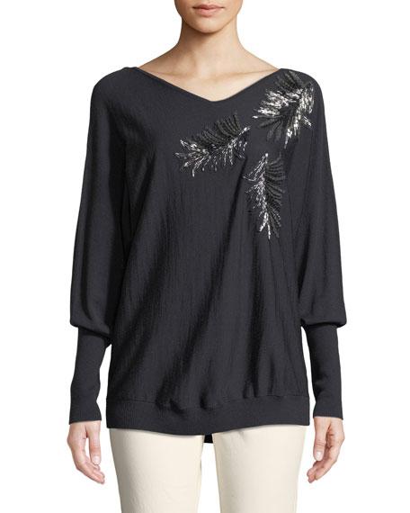Lafayette 148 New York Fine-Gauge Merino-Wool Sequin Embellished