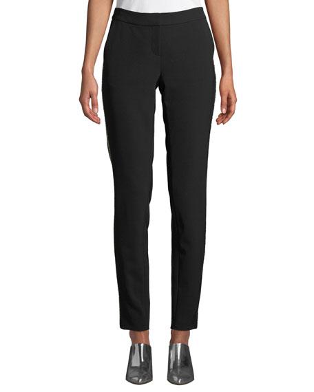 Manhattan Sleek Tech Cloth Pants With Beaded Seam in Black