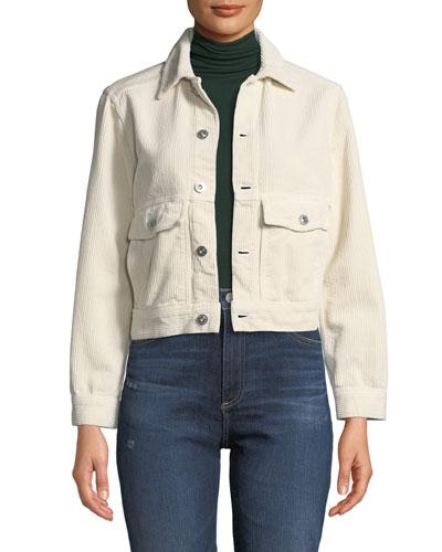 Evonne Button-Front Corduroy Jacket