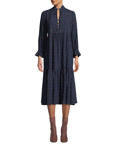 Celeste Dot-Print Tiered Long-Sleeve Midi Dress