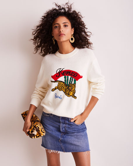 Jumping Tiger Embellished Mock-Neck Sweater