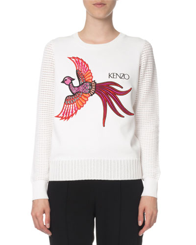 Long-Sleeve Graphic Knit Sweater Top