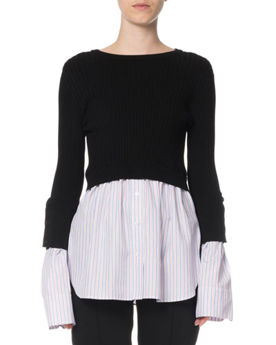 2-in-1 Layered Shirting Button-Back Top
