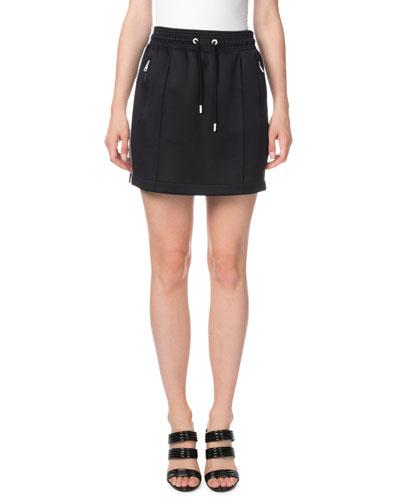 Side-Stripe Drawstring Sporty Mini Skirt