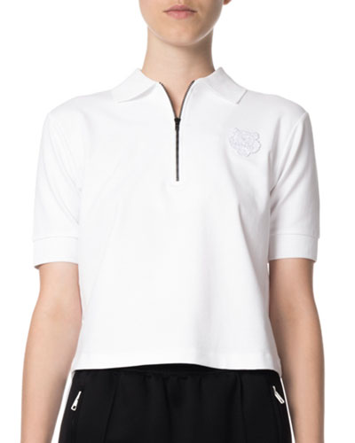 Quarter-Zip Tiger Cropped Polo Shirt