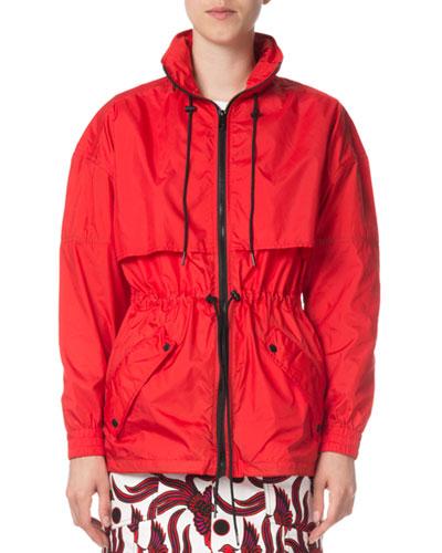 Zip-Front Hooded Logo Wind-Resistant Jacket