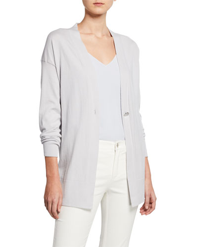 Cotton & Cashmere Long-Sleeve Single-Button Cardigan