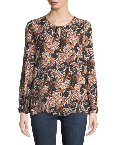 Malin Paisley-Print Tie-Neck Blouse