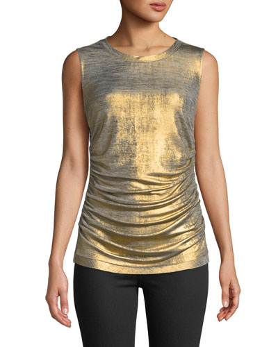 Kobi Halperin Paige Draped Metallic Top
