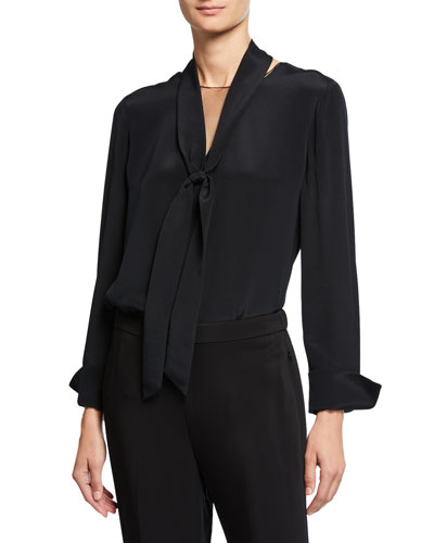 Perry Silk Tie-Neck Blouse