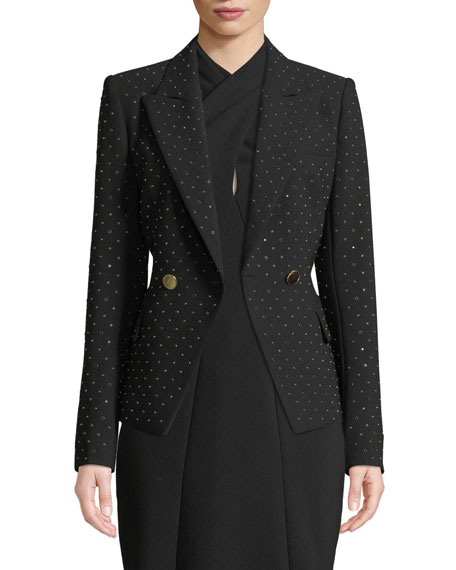 Nicole Stud Double-Breasted Jacket in Black