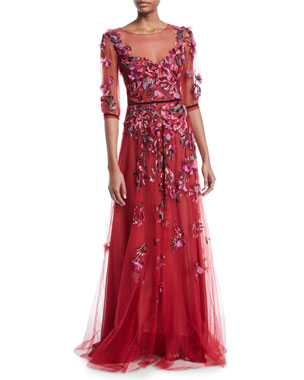 f4b16a92113 Marchesa Notte Slit-Sleeve Allover Bead & Tulle Gown