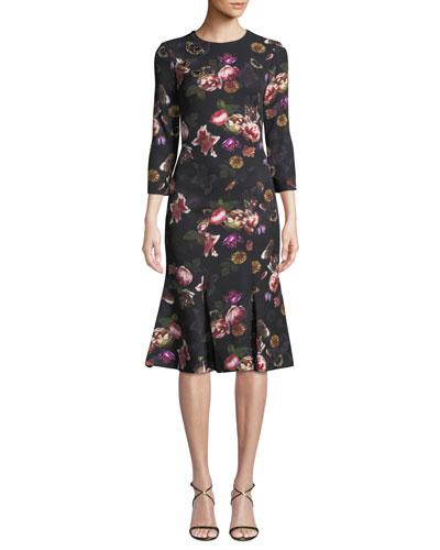 Floral Butterfly Brooch Dress