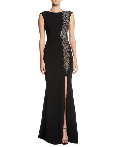 Beaded & Sheer High-Slit Sleeveless Gown