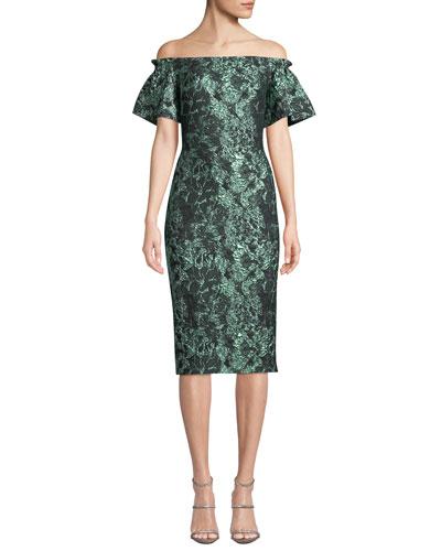 Off-the-Shoulder Metallic Tissue Cloque Dress
