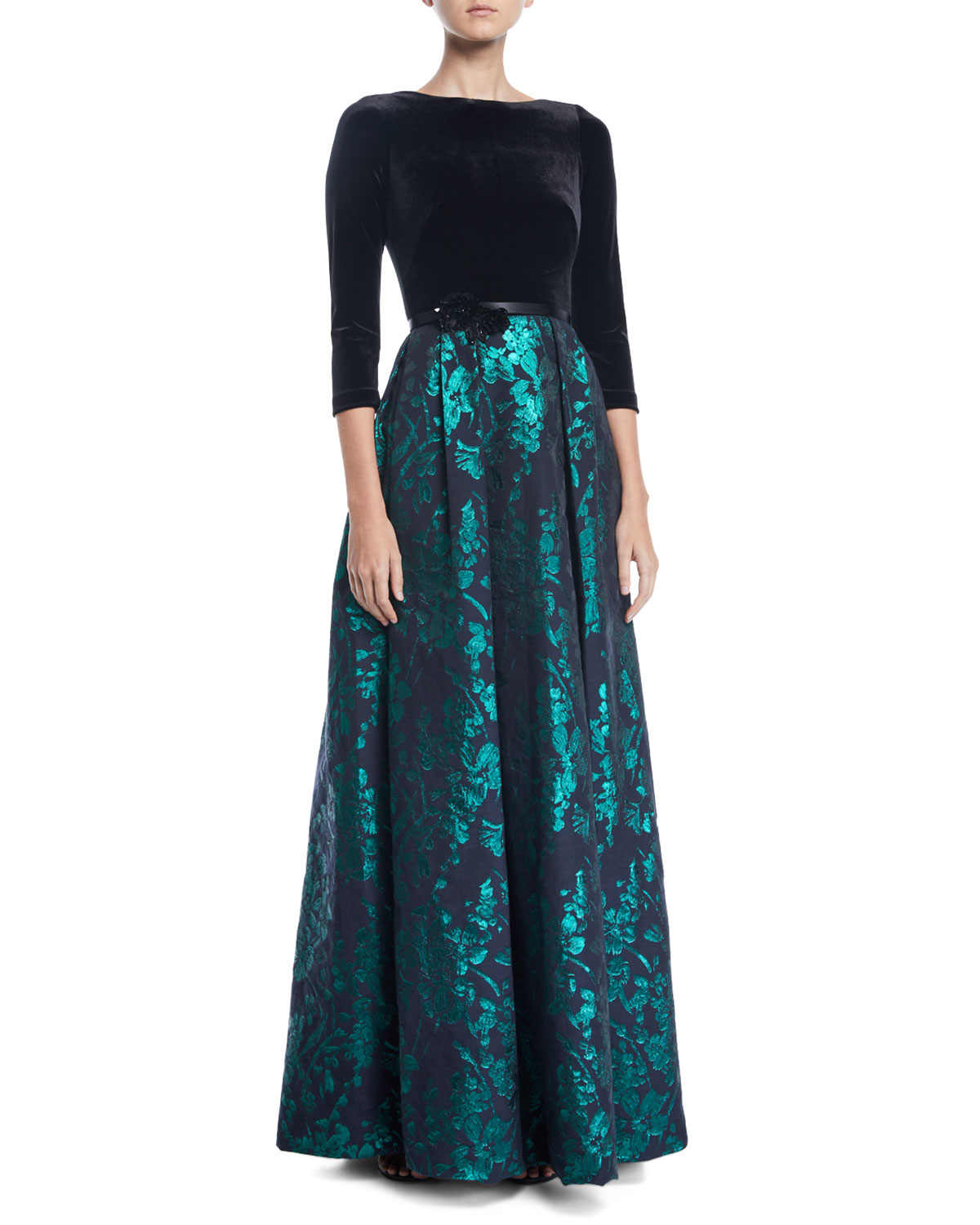 Theia Velvet & Emerald Brocade Ball Gown | Neiman Marcus