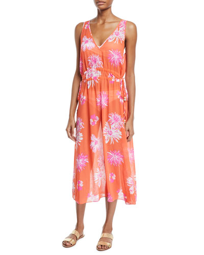 Aleena Floral-Print Sleeveless Midi Dress
