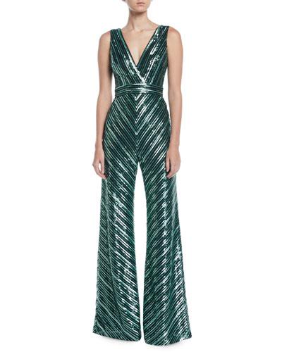 V-Neck Sleeveless Sequin Stripe Jumpsuit