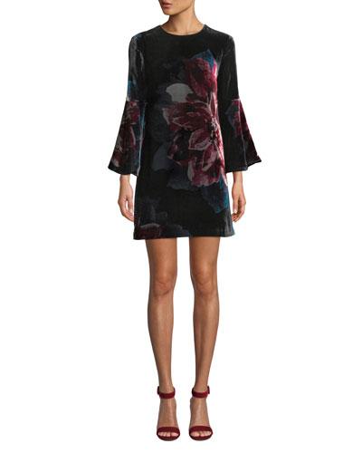 Astral Floral Velvet Bell-Sleeve Mini Dress
