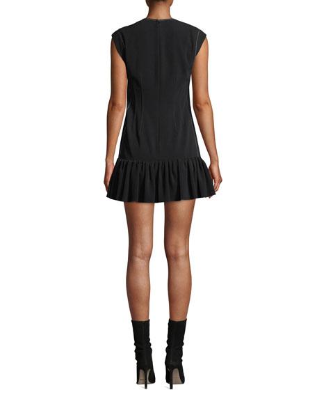Sleeveless Ruffle-Hem Mini Dress with Topstitching
